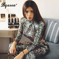 Bqueen 2019 New Women Bandage Two Piece Sets Turleneck Sexy Short Top Sequined Long Pant Suits Set