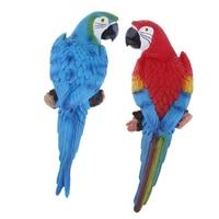 1 Pair Lifelike Bird Ornament Figurine Parrot Toys Sculpture 31cm Red & Blue