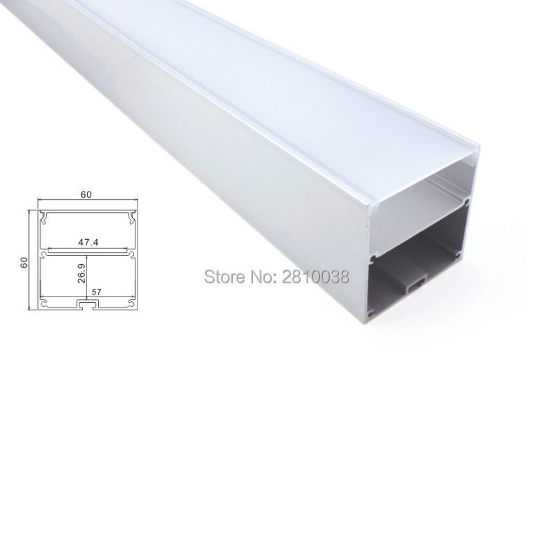 30 X 2M Sets/Lot 6000 series led light profile Large square type aluminium led channel housing for suspending light