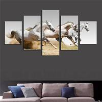 Unframed 5 Panels White Running Horses Picture Hd Canvas Print Painting Artwork Wall Art Canvas Painting