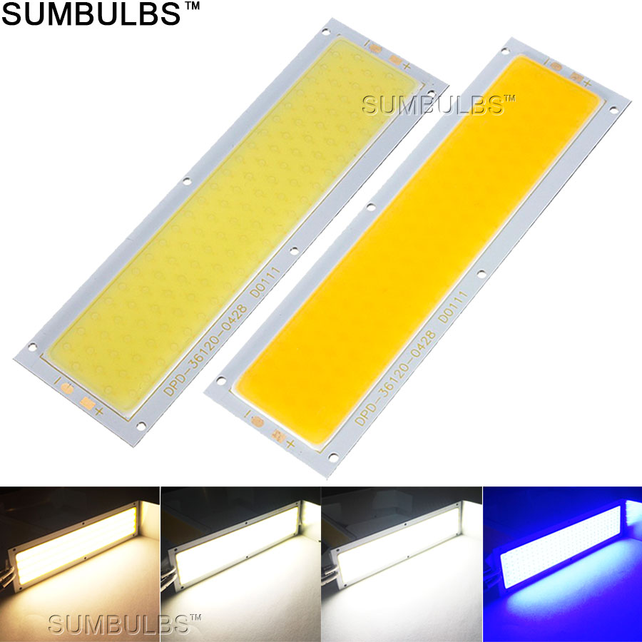 120x36MM 12W COB LED Strip Light Bulb Lamp DC 12V 1300LM Blue Warm Natural Cold White COB Matrix For DIY Work Lights