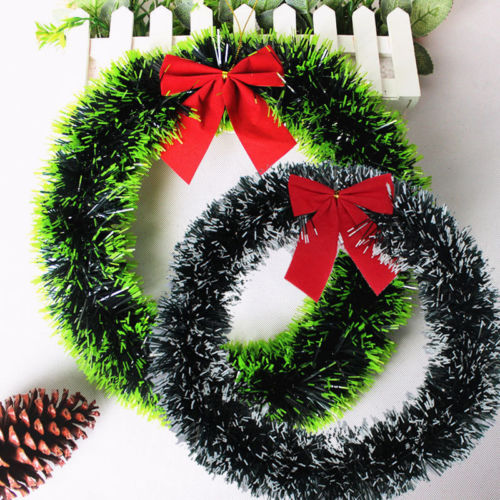 Us 1 59 2017 1pc Christmas Garland 35cm Bow Knot Christmas Wreath Wall Ornament Door Decor Navidad Christmas Decorations For Home In Pendant Drop