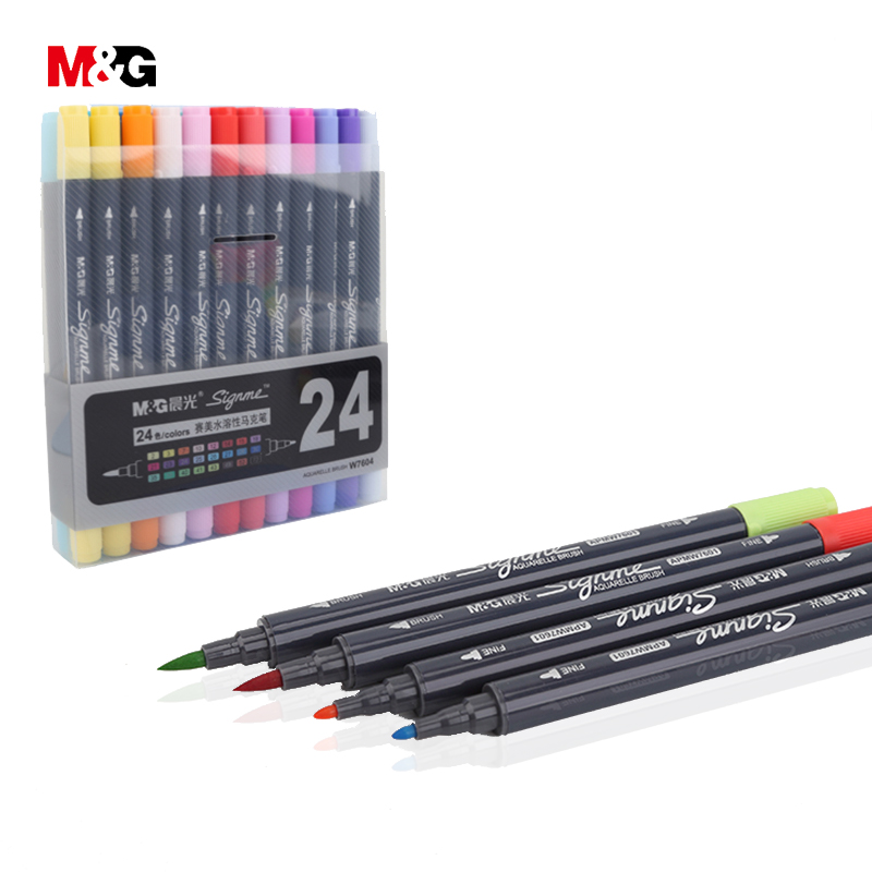 Deli Fine color watercolor pen stationery pens for school markers permanent marker Pen For Photo Album Scrapbooking Decoration touchnew 60 colors artist dual head sketch markers for manga marker school drawing marker pen design supplies 5type