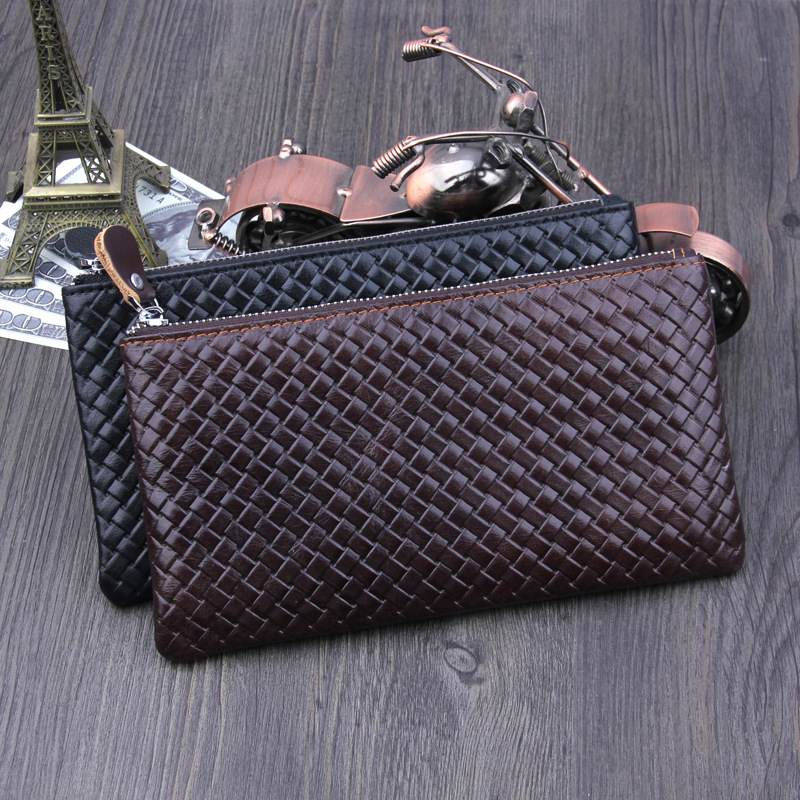 Retro Genuine Leather Cowhide Men / Women Wallet Simple Brand Small Zipper Long Clutch Bags Coin Purse Hold Money Cards Phone new top cowhide genuine leather men wallet weave long designer male clutch luxury brand zipper coin purse phone bags for gifts