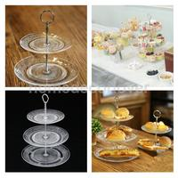 Cup Cake Display Stand 2 or 3 Tier Clear Glass Fruit Storage Basket Dish Tray Holder Rack