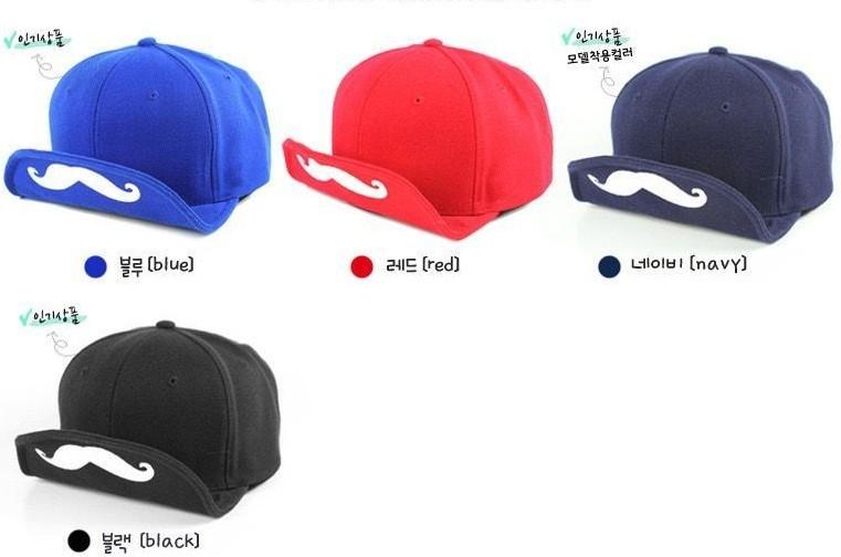 solid color mustache baseball caps short brim cap unisex hat(3)