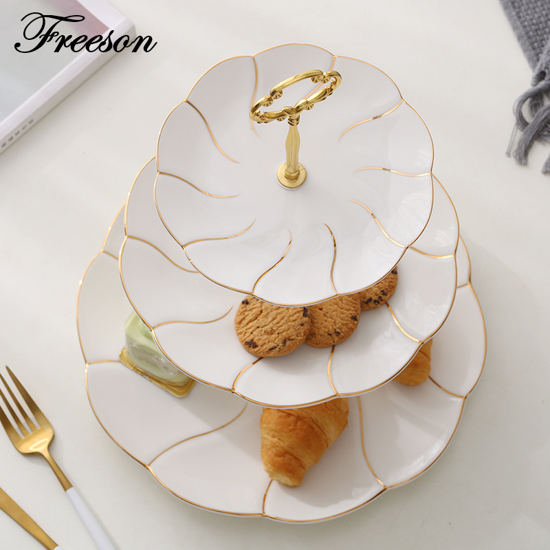 Europe Gold Inlay Bone China Double Triple Decker Dishes And Plates Cake Pastry Fruit Porcelain Dish