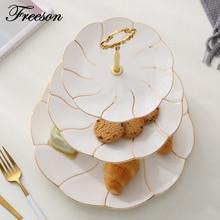 Europa Gold Inlay Bone China Double Triple Decker Gerichte Und Platten Kuchen Gebäck Obst Porzellanschale Keramikschale Party Decor