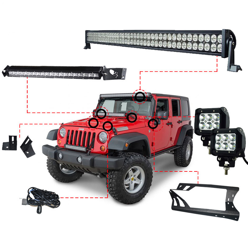 RACBOX 52 POUCES 300 w LED Light Bar 1 X de Pare-Brise Support 2x18 w Travail Lumière Une -pilier 1x100 w Pour Jeep Wrangler JK 07-15