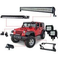 RACBOX 52INCH 300W LED Light Bar 1 X Windshield Mount Bracket 2 x 18w Work Light A Pillar 1 x 100W For Jeep Wrangler JK 07 15