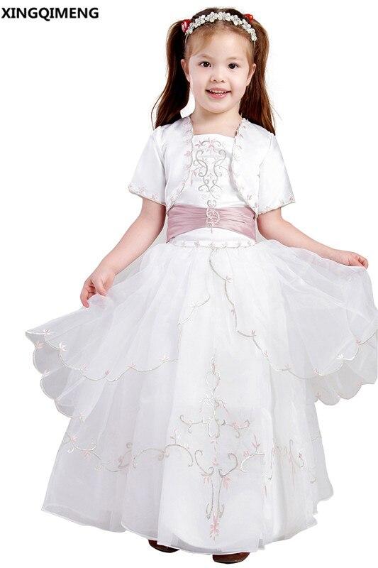 Вышивка элегантный Платья для девочек на свадьбу с куртка первый Платья для причастия дамочки платье Прекрасный платье Vestido De daminha