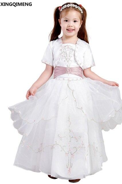La Con Elegante De Primera Niña Vestidos Chaqueta Bordado Flores 7SYqZZ