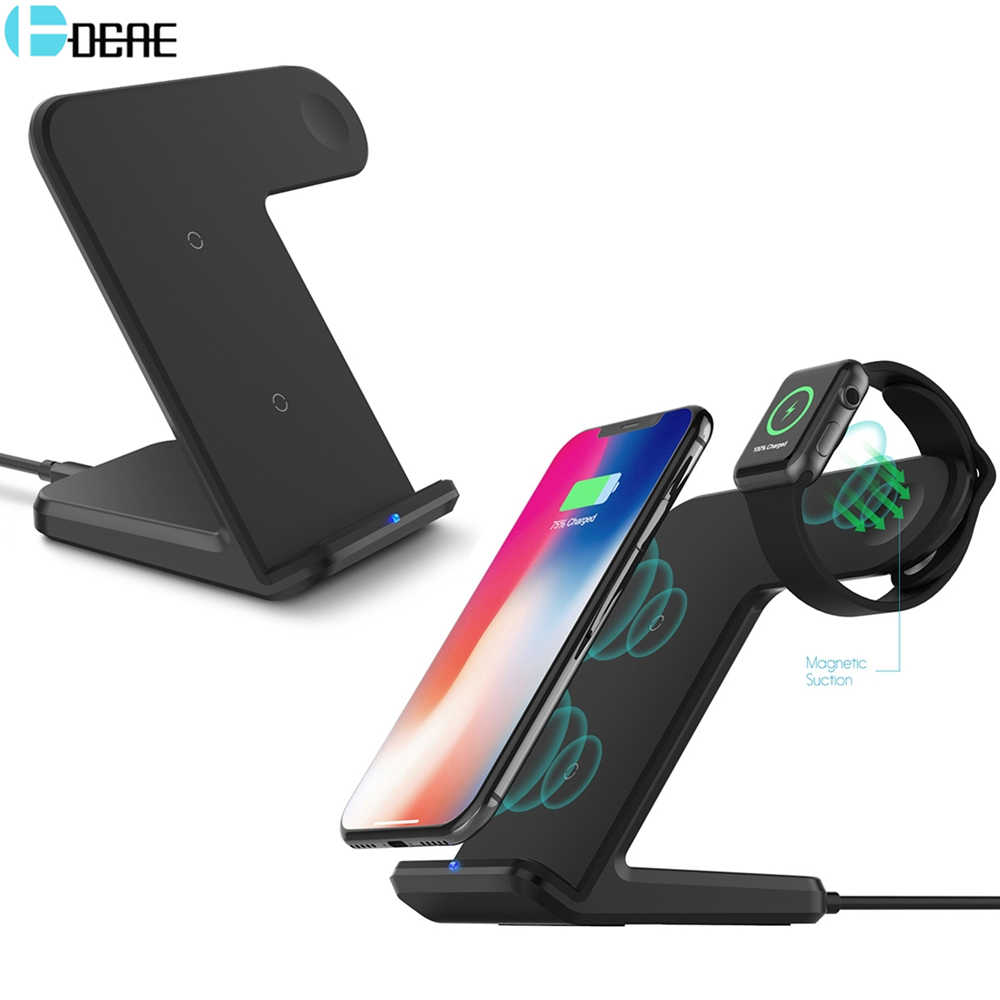 Dcae Qi Wireless Charger 10W Cepat Pengisian Dock Stand untuk Apple Watch 5 4 3 2 IWatch iPhone 11 Pro XS Max XR X 8 Samsung S10 S9