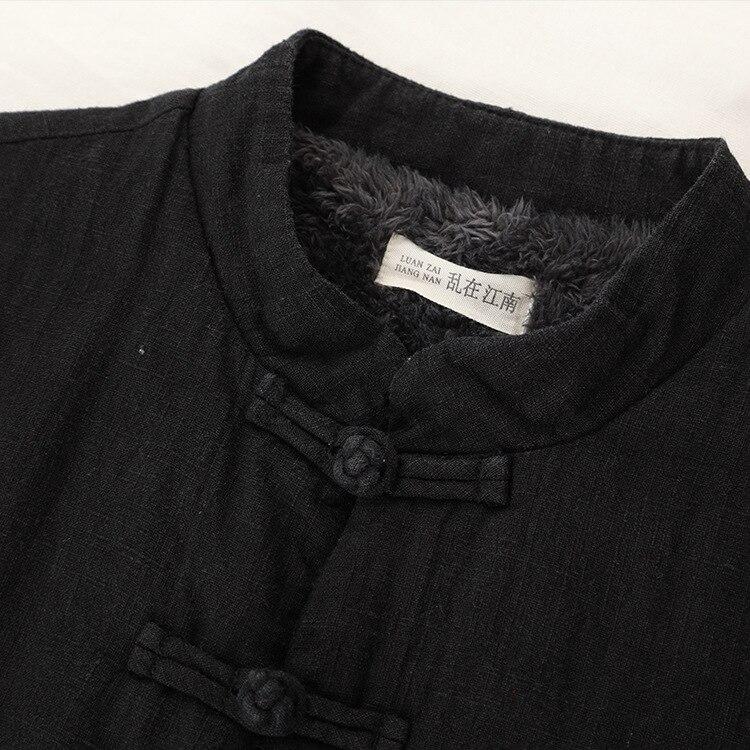 Femmes Manteau Femelle Pardessus Manches Section Coton Lâche Hiver Col Longue Montant Rétro Veste Design À Noir Longues Original Ramie Grue qEAB4