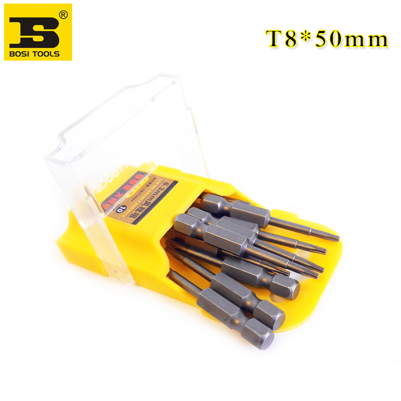 10Pieces 1/4 Inch Hex Shank T8 Torx Security Head Screwdriver Drill Bits 2 Inch Length S2 Steel