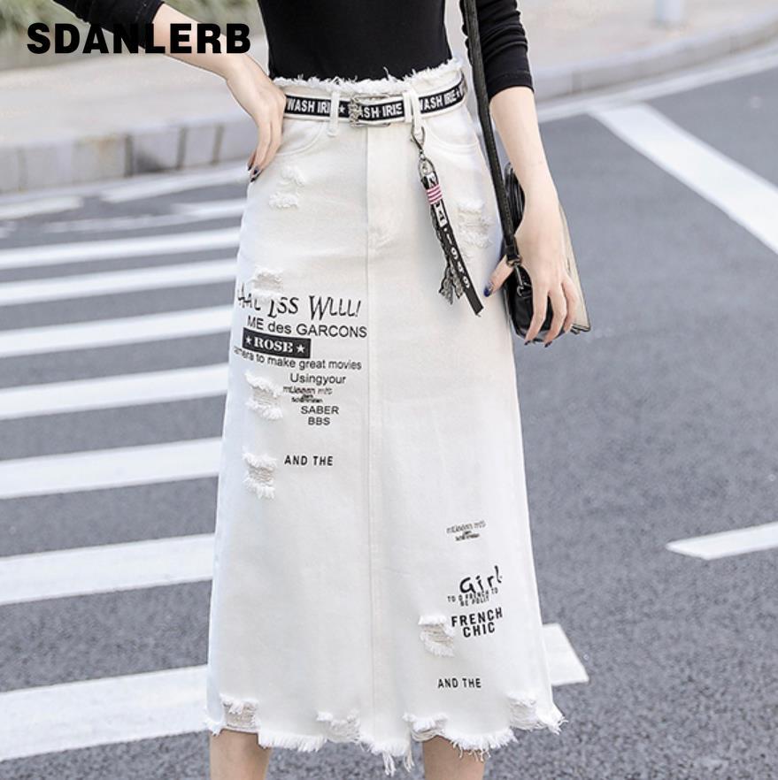 Plus Size 5XL! Spring Summer Denim Skirt New Letters Hole White Women Package Hip Step Jeans Skirt