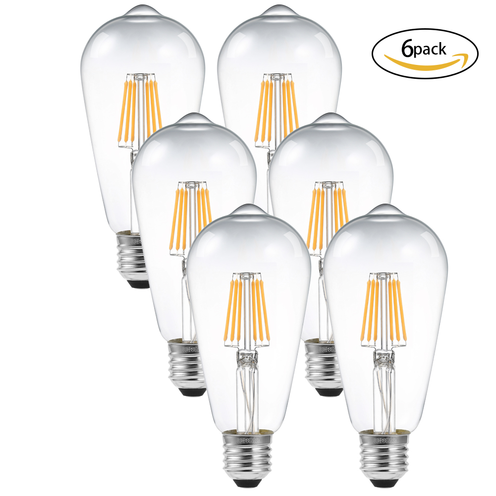 LEDGLE 6W LED Light Bulbs Dimmable E27 LED Lamp Bulb Filament Bulbs for Chandelier and Wall Lamp Warm White 2700K 580lm 6 Pcs