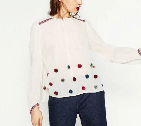 2017 women fashion elegant long sleeve embroidery Pompon appliques casual pullover blouses shirt  slim za brand tops blusas