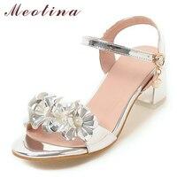 Meotina Designer Shoes Women Sandals Summer 2017 Flower Chunky Heel Sandals Buckle Party Heels Sliver Wedding