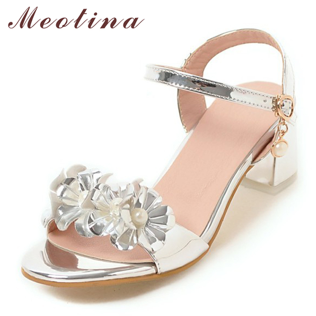 Meotina Designer Shoes Women Sandals Summer 2018 Flower Chunky Heel Sandals  Buckle Party Heels Sliver Wedding Shoes Plus Size 43