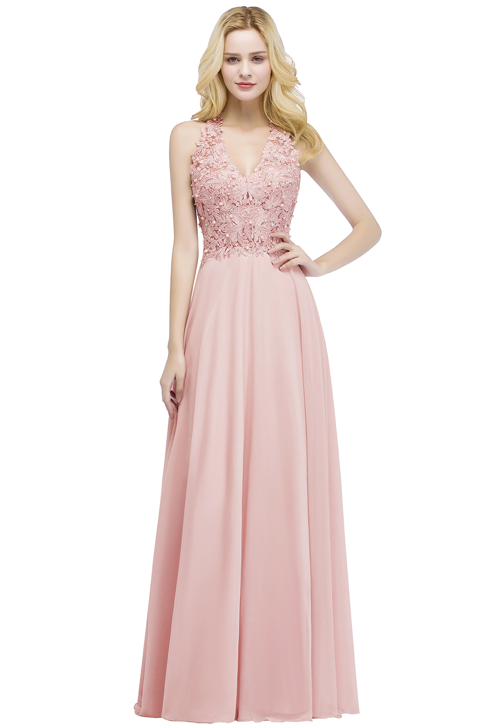 Elegant A Line Illusion Back with Pearls Floor Length Evening Dress 7