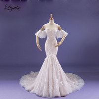 Liyuke Fabulous Dropped Waistline Mermaid Wedding Dress Court Train Inner Champagne Off The Shoulder Bridal Dresses