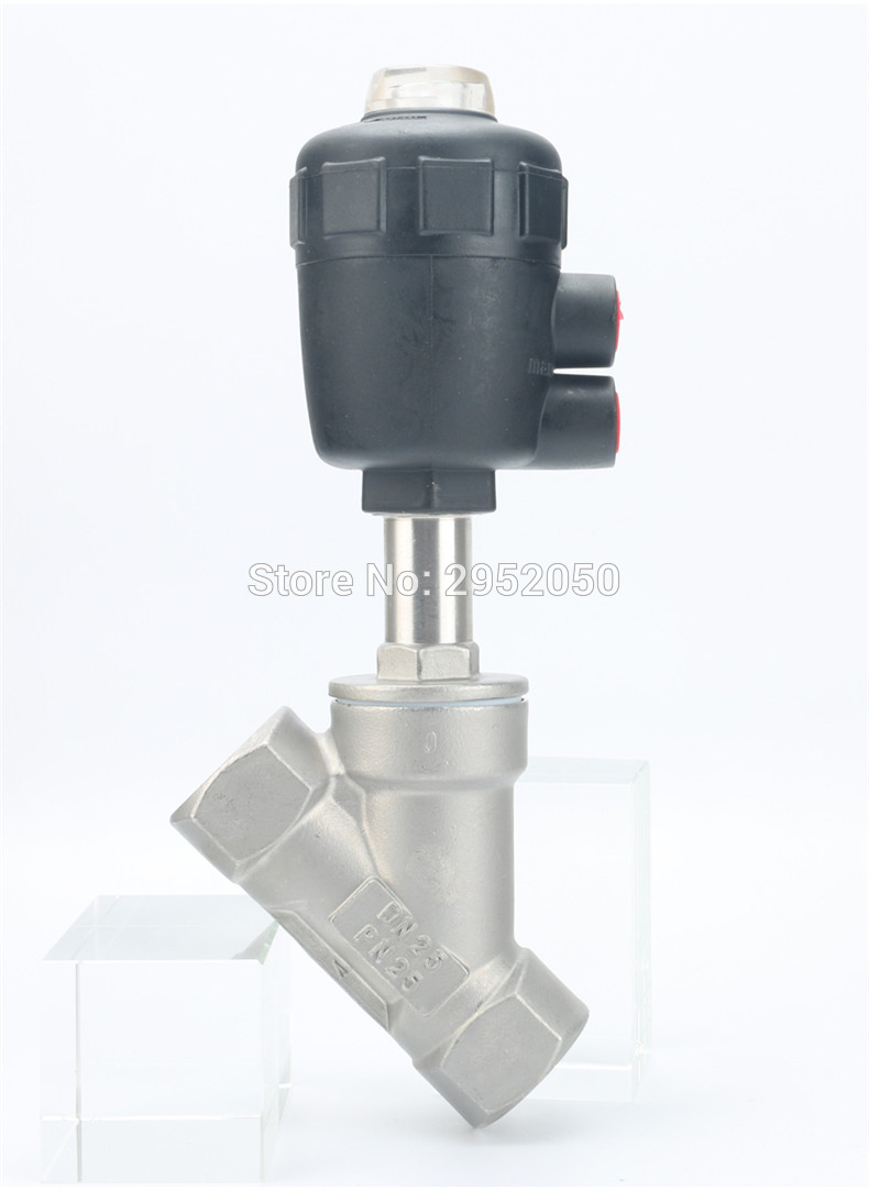 Free shipping BSPT 1/2 normally closed complete stainless steel angled seat valve for air water steam high temperature steam free shipping seat actuator double cheap steam water stainless steel valve angle dn25 1 inch normally open for air