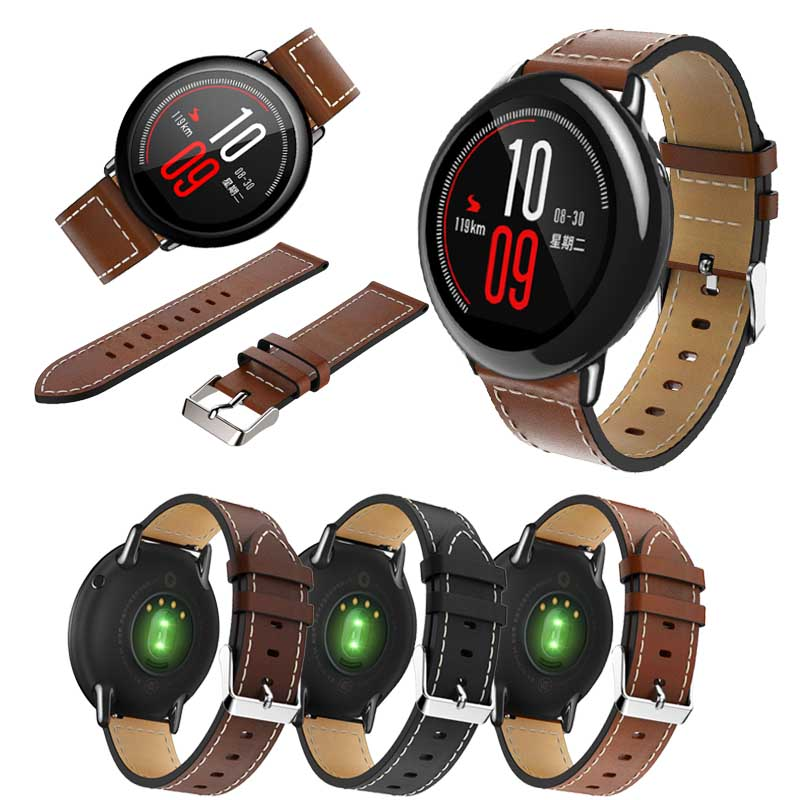 For Original Xiaomi Huami Amazfit Pace Watch Strap Genuine Leather Replacement Smart Watch Band For Amazfit GTR 47MM Bracelet