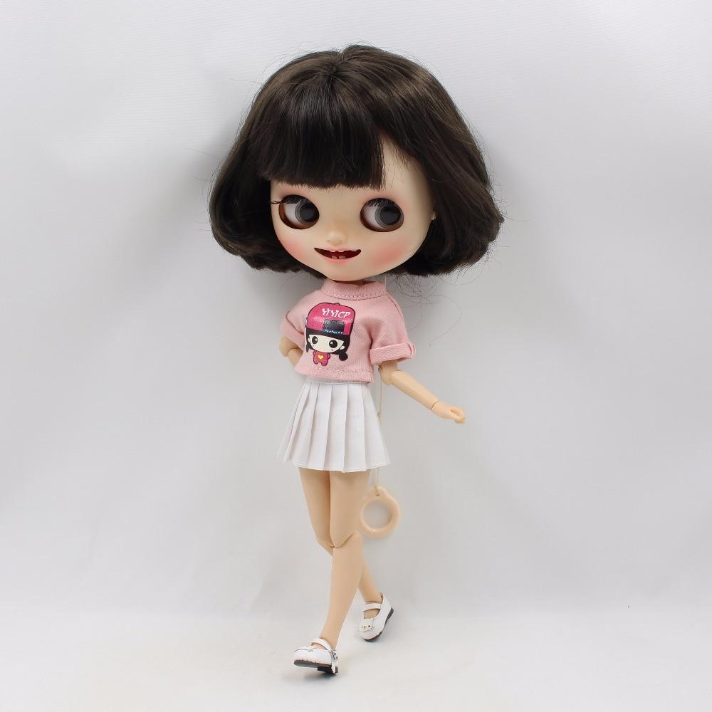 Neo Blythe Doll Pink Shirt White Skirt 3