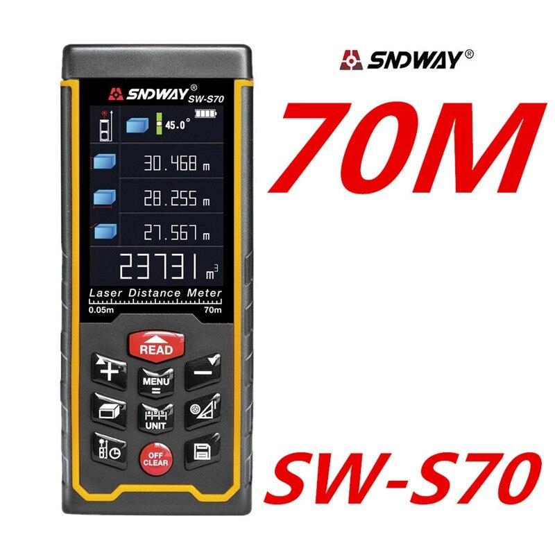 SNDWAY telemetro Laser telemetro Laser distanza mete Nastro Digitale USB display a Colori Rechargeabel 70 M SW-S70 spedizione gratuita