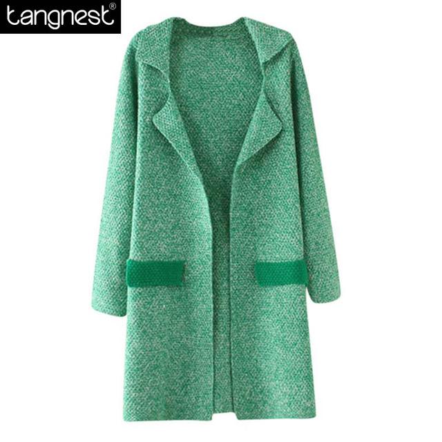 Tangnest rebeca hecha punto 2017 de la marca a largo suéter bolsillo contraste moda de cobertura de cuello de punto suéter acogedor jersey wzl551