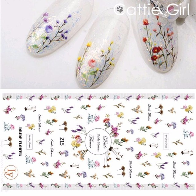 Aliexpress buy 1 sheet dry flowers leaves 3d nail art 1 sheet dry flowers leaves 3d nail art transfer stickers nail design water marble moon nail prinsesfo Choice Image