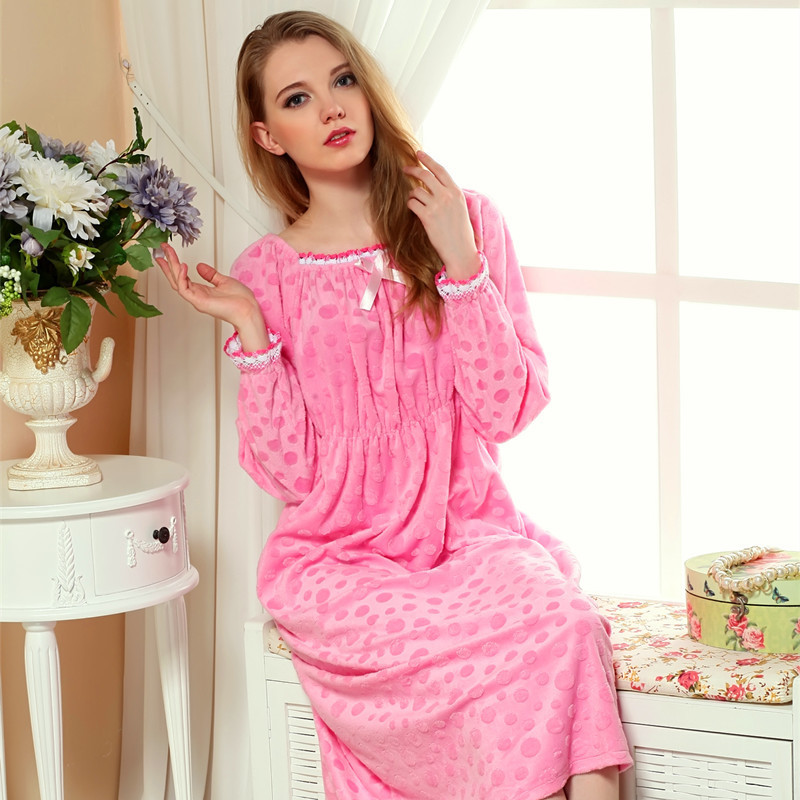 3785c30900 Women s Nightgown Coral velvet Single Robe Princess Long Sleeve Ladies Long  Nightdress Solid Women s Sleep Lounge Sleepshirts