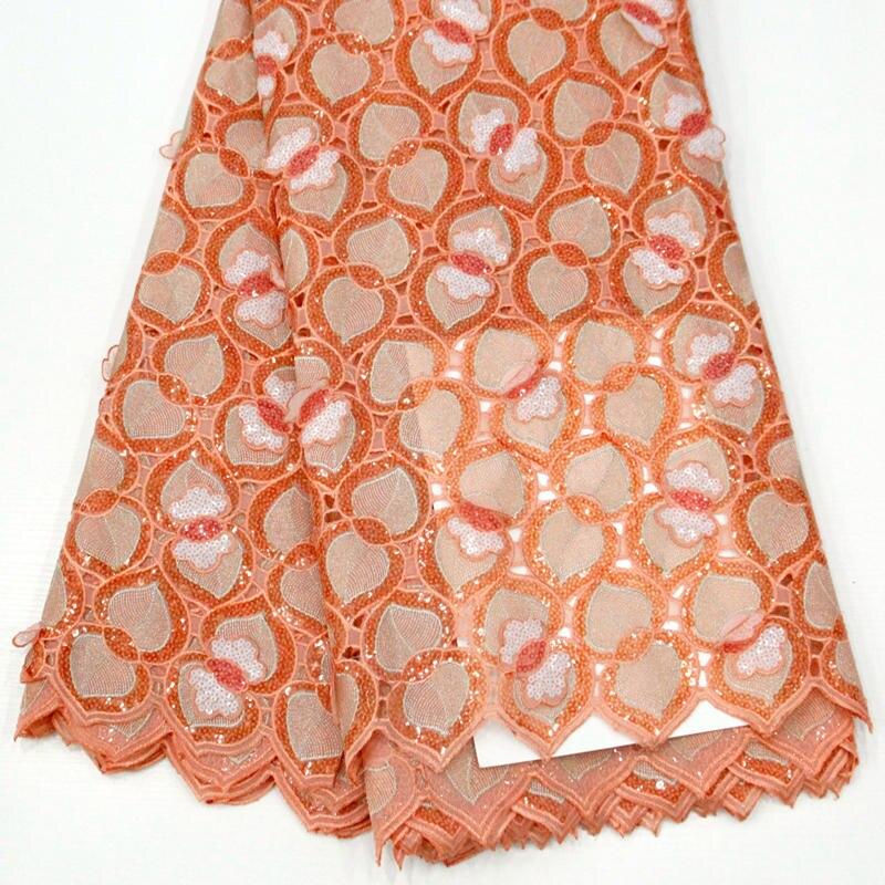 Ev ve Bahçe'ten Dantel'de Benzersiz yeni Swiss dantel kumaşlar büyük afrika Handcut organze dantel kumaş allover sequins boncuklu metalik lurex 5 metre RG757'da  Grup 1