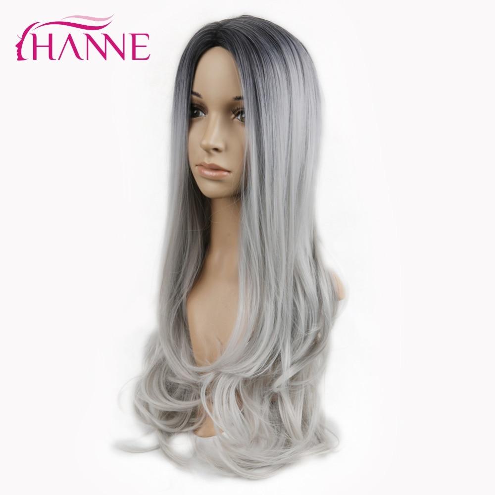 HANNE Svart till Ljusgrå 26inch Long Ombre Daywear eller Party Paryk - Syntetiskt hår - Foto 5