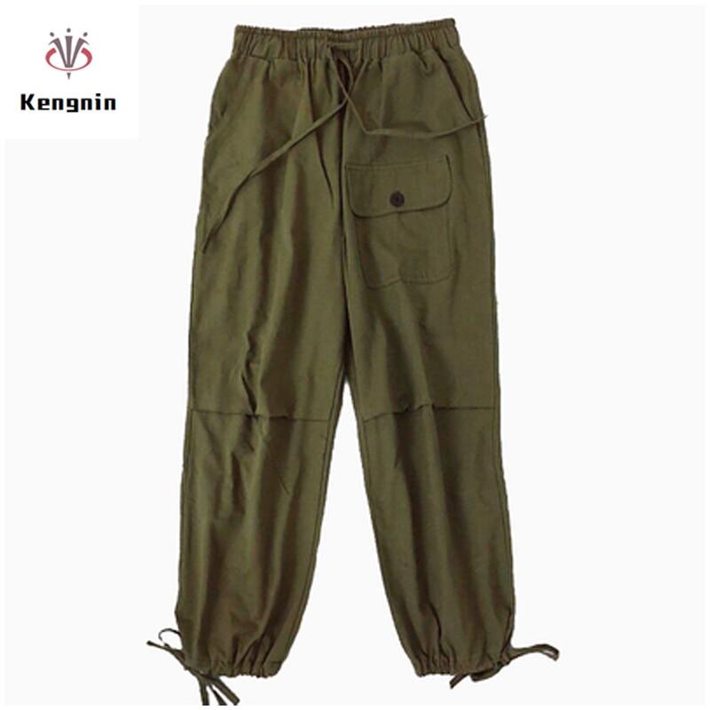 2019 Korean Style Streetwear Cargo   Pants   Women Casual Joggers Black Green High Waist Loose Ffemale Trousers Ladies   Pants     Capris