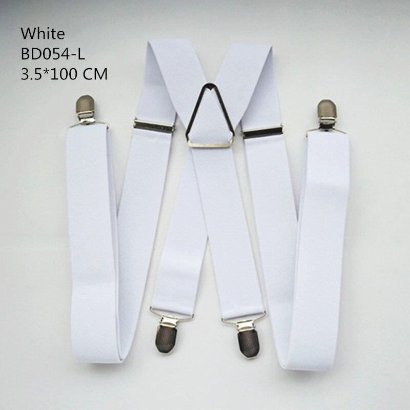 Одноцветные подтяжки унисекс для взрослых, мужские XXL, большие размеры, 3,5 см, ширина, регулируемые эластичные, 4 зажима X сзади, женские брюки, подтяжки, BD054 - Цвет: White-100cm