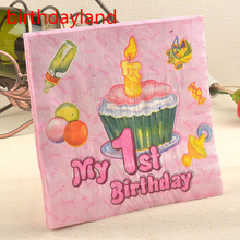 2packs My 1th bithday theme printed Napkin Food-grade  Paper doily Tissue for children first birthday Party Wedding Decoration