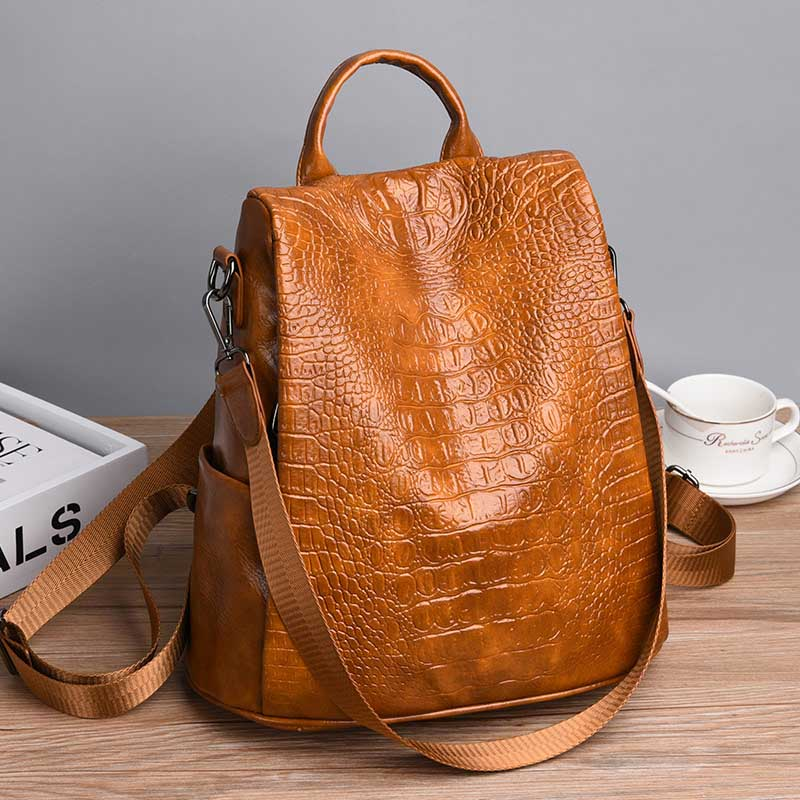 Fashion Alligator Anti Theft Backpack High Quality Leather Bagpack Vintage Sac Shoulder Bag Mochila Mujer 2019 Brown XA317H-1
