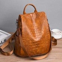 Fashion Alligator Anti theft Backpack High Quality Leather Bagpack Vintage Sac Shoulder Bag mochila mujer 2020 Brown XA317H 1