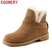 EGONERY 2017 Shoes New Arrival Hot Sale Warm Shearling Fashion Women Ankle Boot Winter Fur Solid
