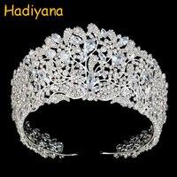 Hadiyana Newest Style Shining Rhinestone Princess Crown Tiaras For Women Girls Wedding Sparkling CZ Zirconia Crowns Gift BC3943