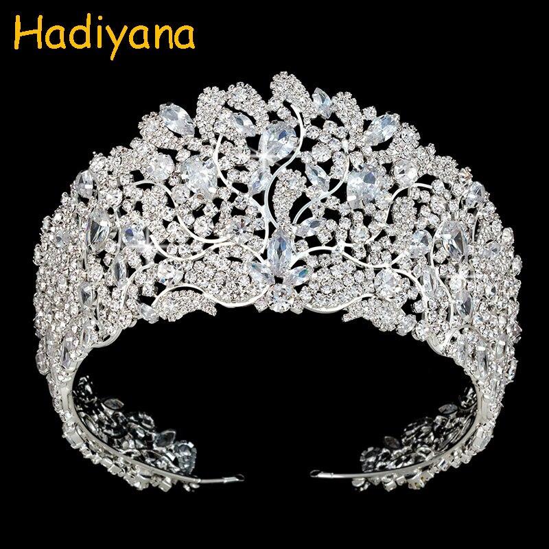 Takı ve Aksesuarları'ten Saç Takısı'de Hadiyana Yeni Stil Parlayan Rhinestone Prenses Taç Tiaras Kadınlar Için Kız Düğün Köpüklü CZ Zirkonya Kron Hediye BC3943'da  Grup 1