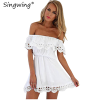 Singwing Women White Lace Dress Slash Neck Casual Summer Dress Off The Shoulder Sleeveless Solid Color