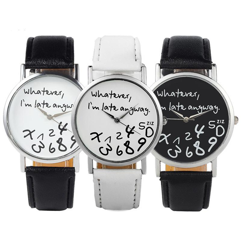 New Hot Sale Fashion Men Watches Quartz Watch Style Whatever I'm late Anyway Irregular Figure Women Wristwatch Dress Women Watch 2015 hot hot sale women leather watch wathever i am late anyway letter watches new