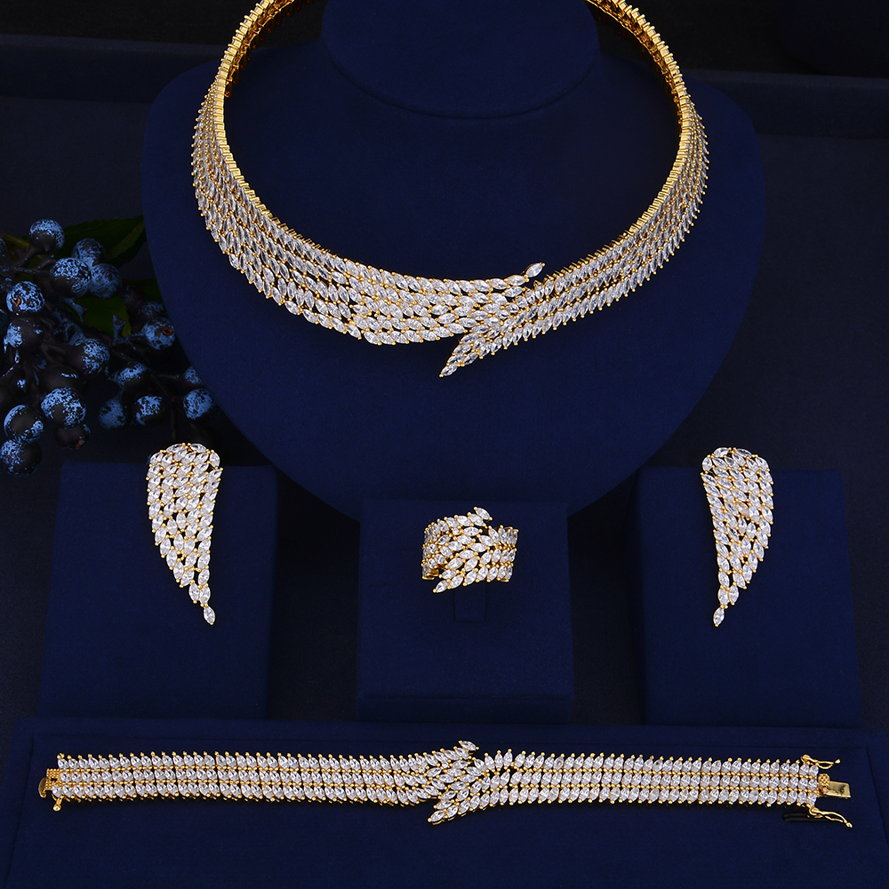 4PCS Luxury nigerian jewelry set for women CZ Angle Wings Shape Big Collar Necklace Earrings Bracelet Ring Set For Wedding pair of stylish rhinestone triangle stud earrings for women