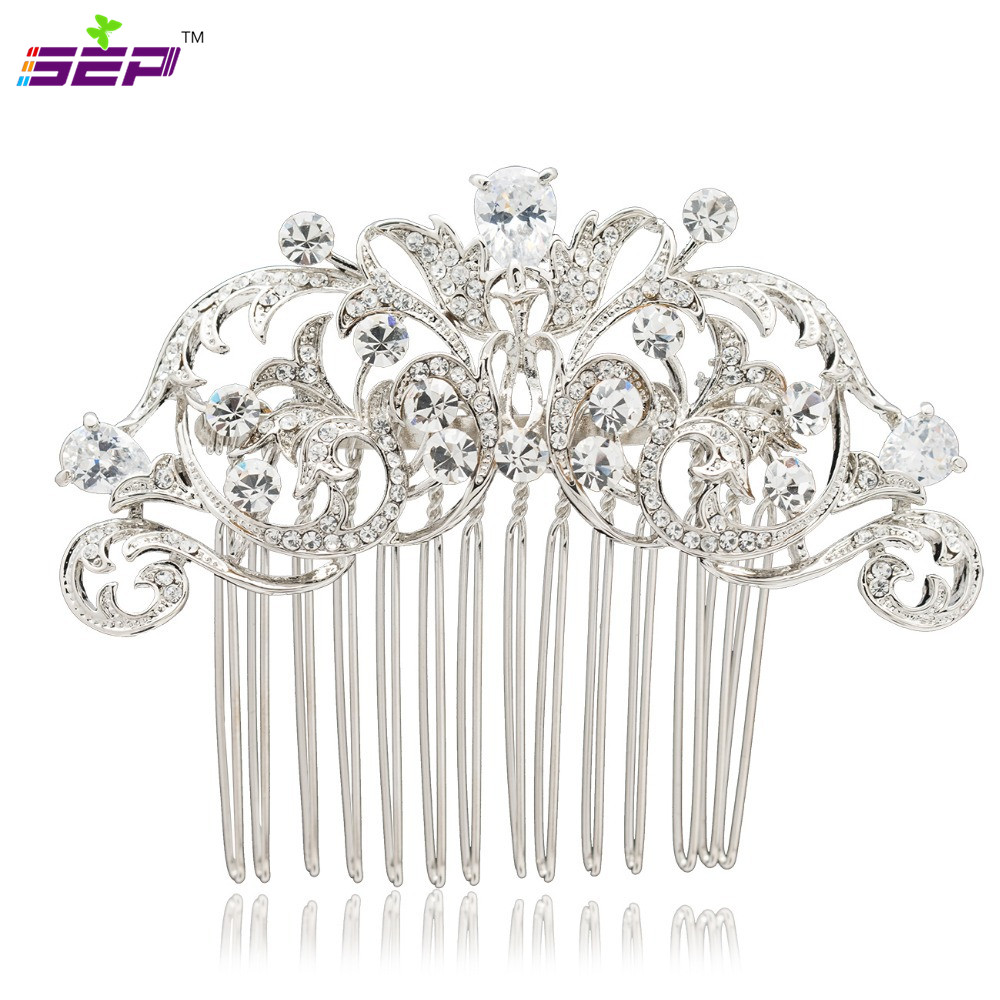 Clear Rhinestone Crystals Hair Side Comb Brude Hairpin Women Wedding - Mote smykker