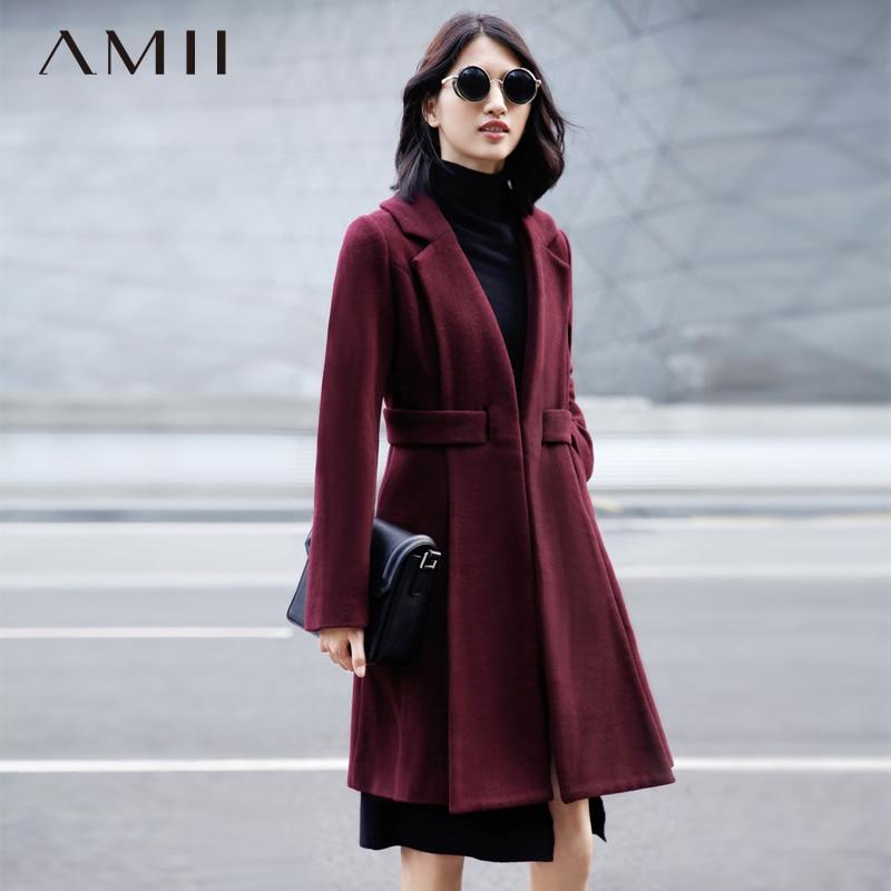 Amii Casual Minimalist Women Woolen Coat 2018 Winter Solid A Line Turn-down Collar Belt Female Wool Blends