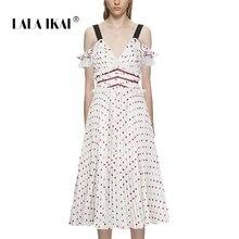 f1089a9847 LALA IKAI Sweet Summer Dot Design Women Boho Sexy Sleeveless Midi Female  Dress