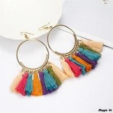 цена на tassel earrings hoop for women brincos drop earring jewelry Bohemia Big vintage fashion blue red  flower color exaggeration 2019